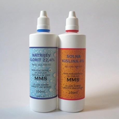 Sestavine za MMS 2x100 ml s solno kislino
